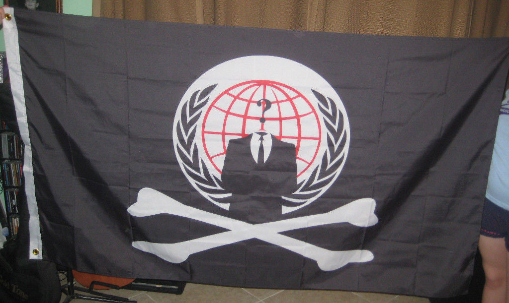 Anonymous Pirate Flag 5x3 Feet Banner NWO ANON 4Chan /b/ Free Anon Stickers Ship with Every Order!