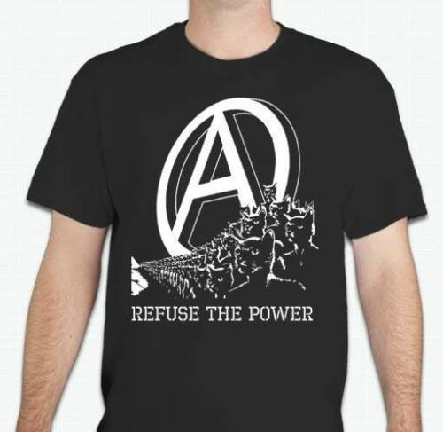 REFUSE THE POWER Anarchist cat kitty anarchy Protest Tee T shirt