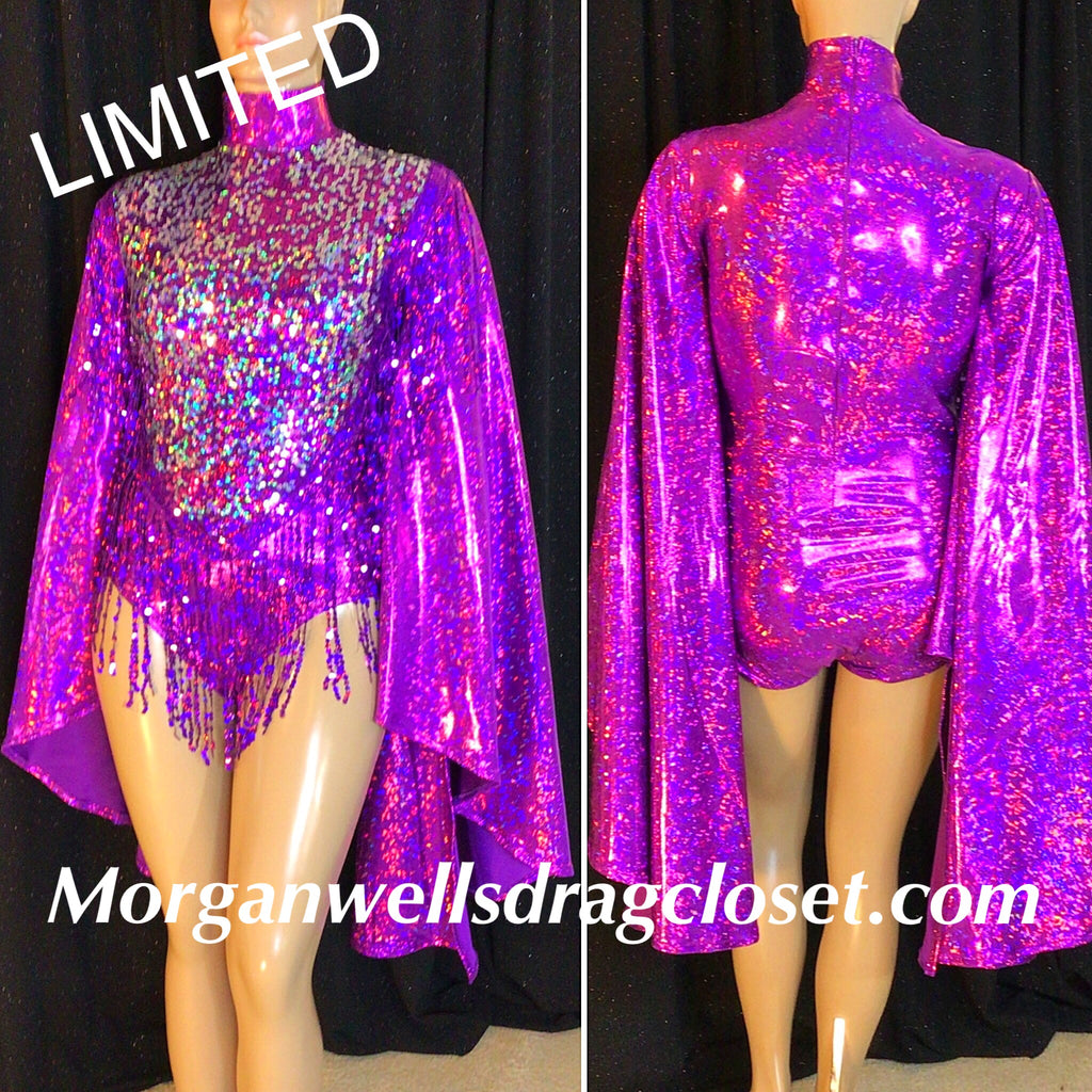 PURPLE AND SILVER SEQUIN FRINGE HOLOGRAM LEOTARD