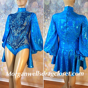 PUFF SLEEVE SEQUIN AND HOLOGRAM LEOTARD IN TURQUOISE