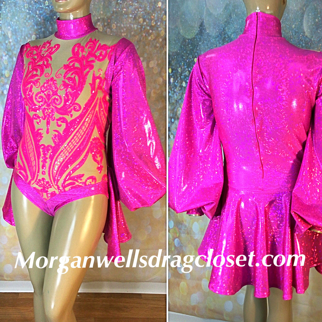 PUFF SLEEVE SEQUIN AND HOLOGRAM LEOTARD IN HOT PINK
