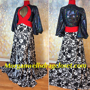 FABULOUS BLACK WHITE AND RED FULL SKIRT DRESS