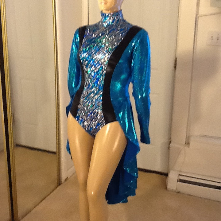 TURQUOISE AND BLACK HOLOGRAM LEOTARD