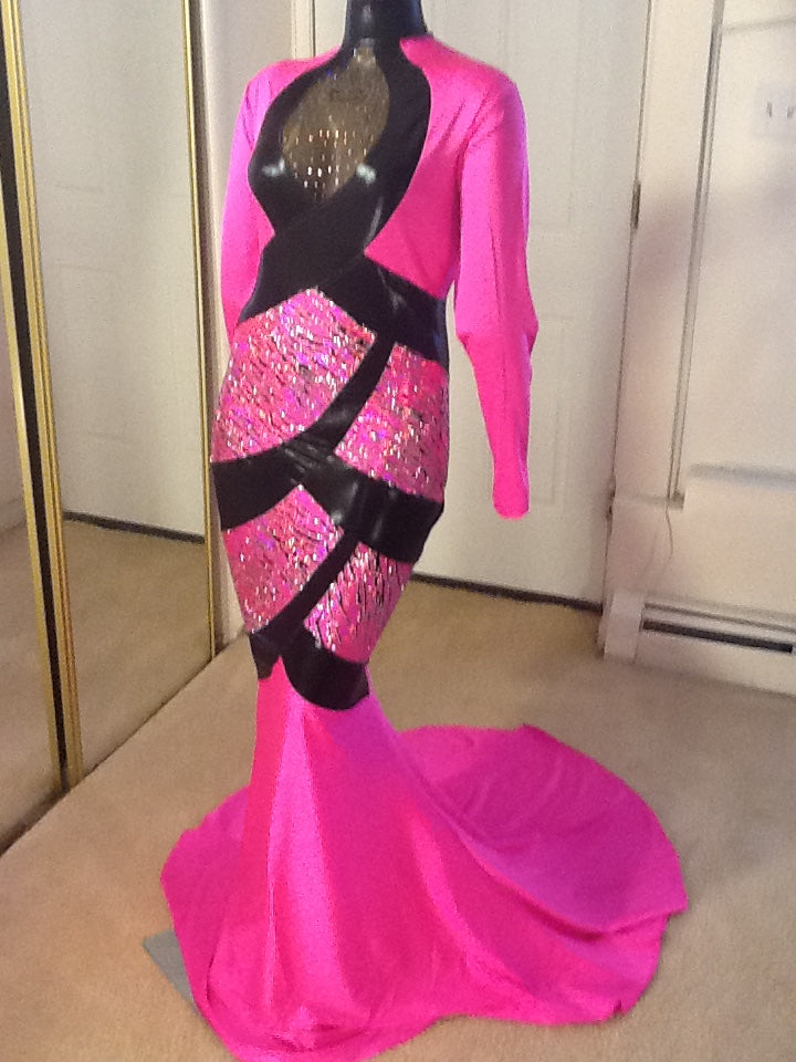 HOT PINK AND BLACK SPARKLE STRETCH DRESS!