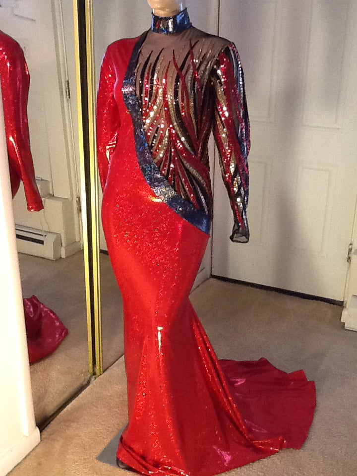 RED AND BLACK HOLOGRAM AND SEQUIN STRETCH DRESS!