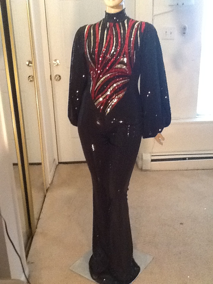 BLACK HOLOGRAM JUMPSUIT WITH RED AND BLACK SEQUIN TRIM!