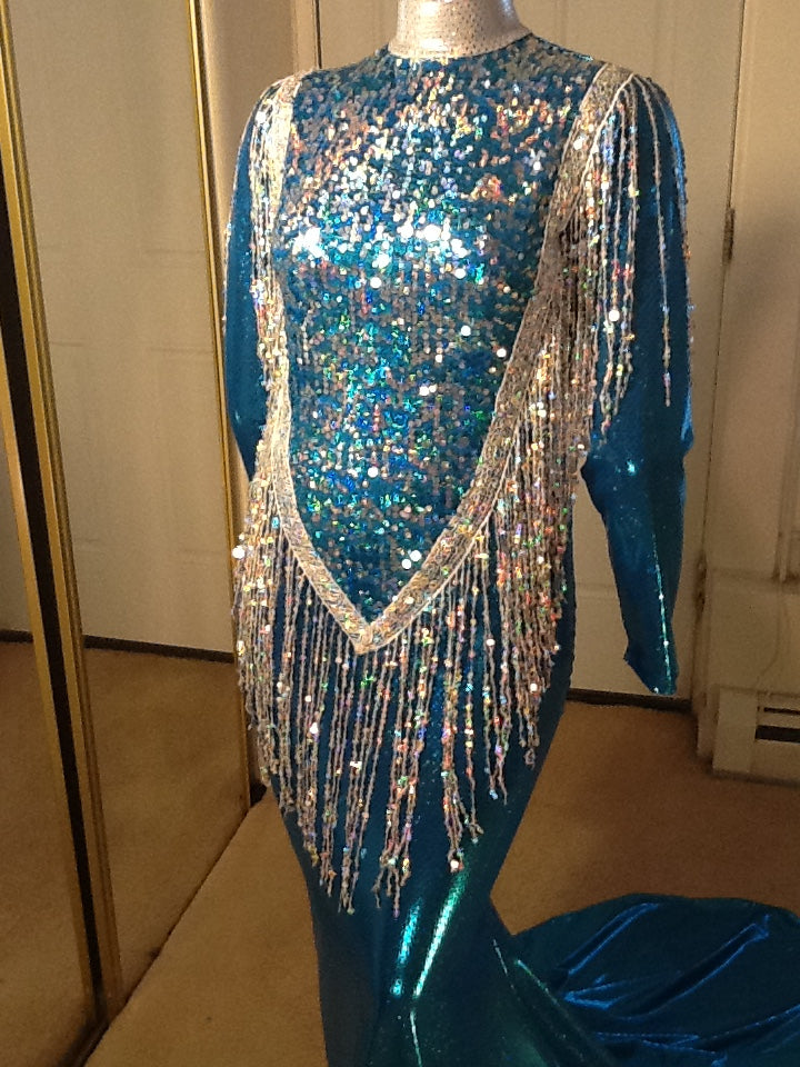 TURQUOISE AND SILVER HOLOGRAM SEQUIN FRONT STRETCH DRESS