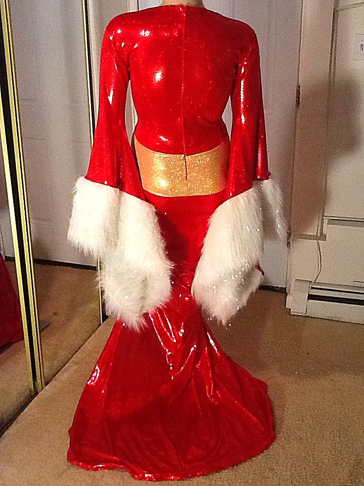 RED HOLIDAY FUR TRIMMED SPARKLE STRETCH DRESS