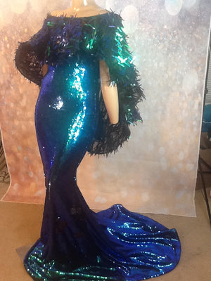 BLUE-GREEN IRIDESCENT SEQUIN CAPE SHOULDER  SPARKLE STRETCH DRESS