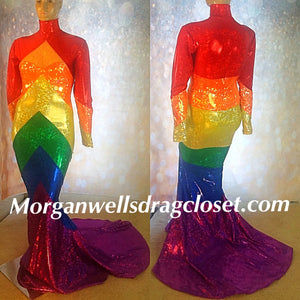 HOLOGRAM CHEVRON GAY PRIDE DRESS