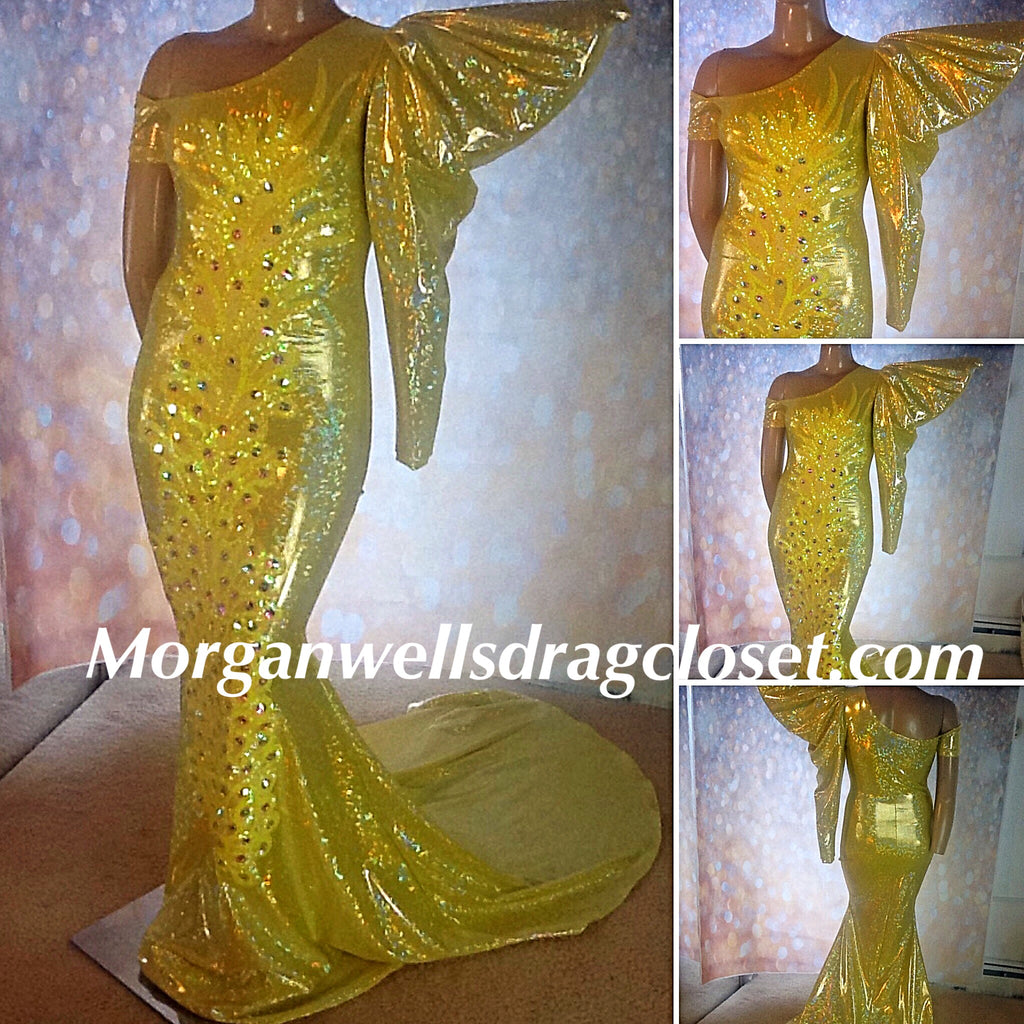 YELLOW ONE SHOULDER HOLOGRAM SEQUINS AND STONE DRESS!