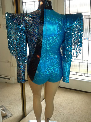 BIAS CUT SEQUIN FRINGE HOLOGRAM LEOTARD AND RIP AWAY SKIRT IN TURQUOISE