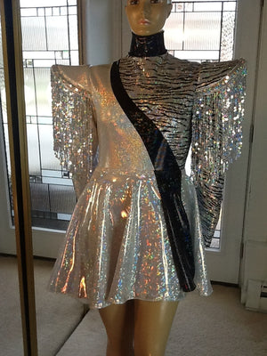 BIAS CUT SEQUIN FRINGE HOLOGRAM LEOTARD AND RIP AWAY SKIRT IN SILVER
