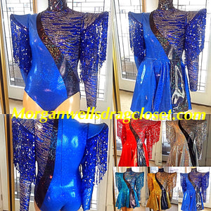 BIAS CUT SEQUIN FRINGE HOLOGRAM LEOTARD AND RIP AWAY SKIRT IN BLUE