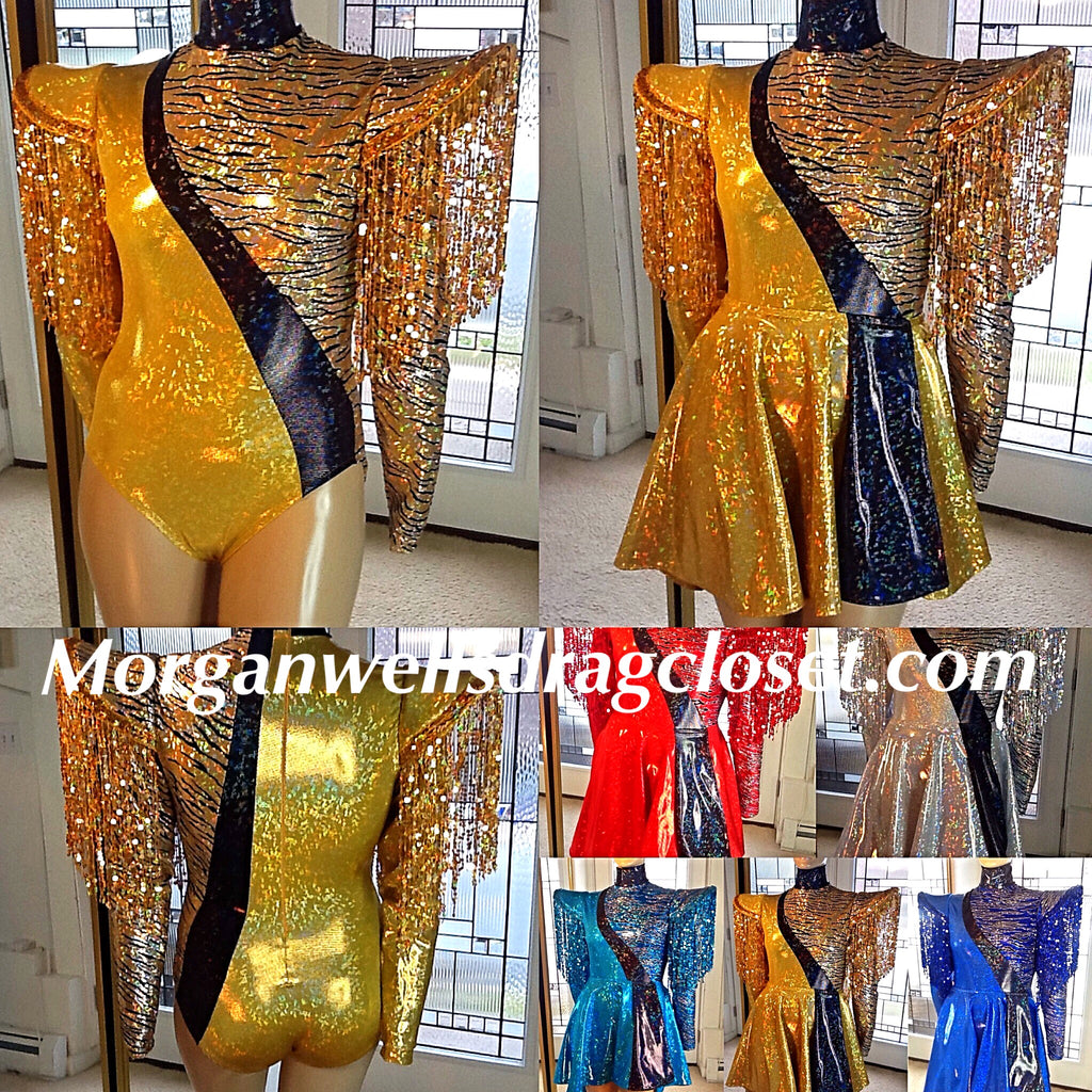 BIAS CUT SEQUIN FRINGE HOLOGRAM LEOTARD AND RIP AWAY SKIRT IN GOLD