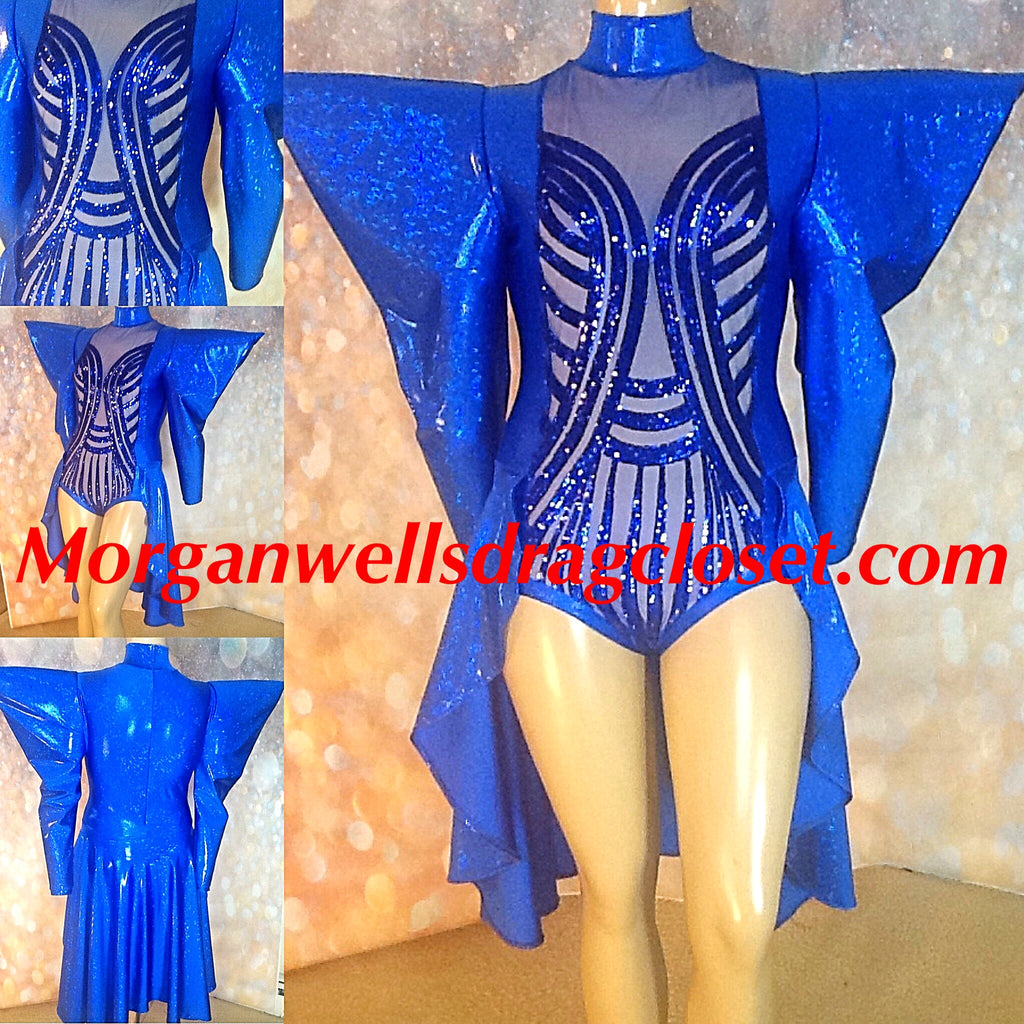 BLUE SEQUIN FRONT POINTED SHOULDER HOLOGRAM LEOTARD