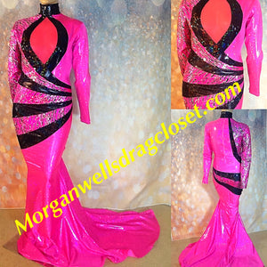 HOT PINK AND BLACK HOLOGRAM SPARKLE STRETCH DRESS!