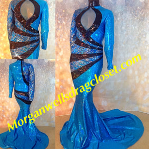 TURQUOISE AND BLACK HOLOGRAM SPARKLE STRETCH DRESS!