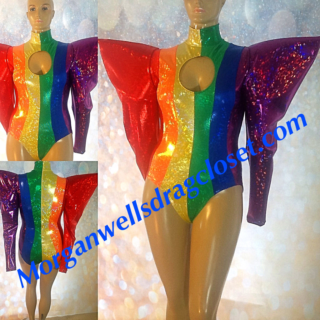 HOLOGRAM BIG SHOULDER GAY PRIDE LEOTARD