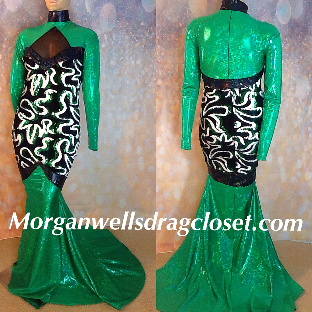 SWIRLY GREEN AND BLACK SEQUIN AND HOLOGRAM STRETCH DRESS