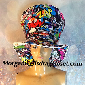 COMIC PRINT MAD HATTER HAT
