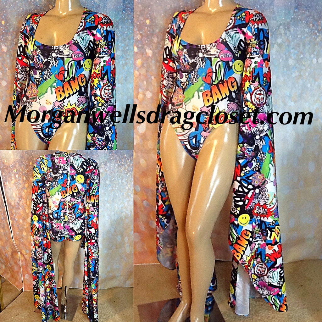 COMIC PRINT  FLOOR LENGTH SLEEVE LEOTARD