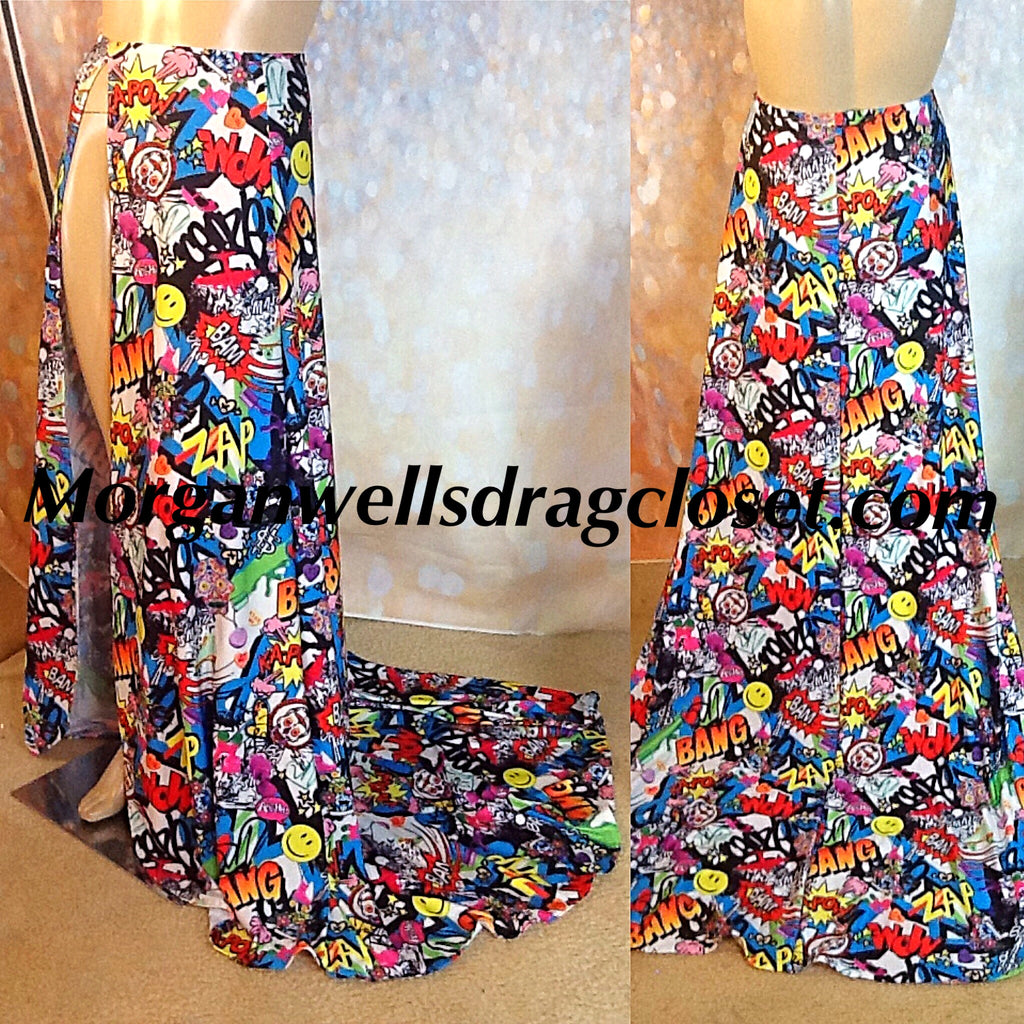 COMIC PRINT FLOOR LENGTH WRAP SKIRT