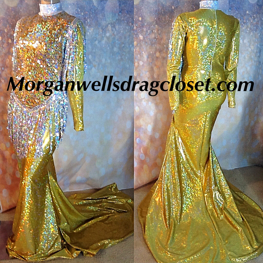 GOLD AND SILVER HOLOGRAM SEQUIN FRONT STRETCH DRESS