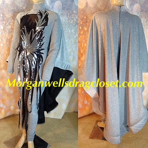 PEWTER SEQUIN TRIMMED CAPED STRETCH CATSUIT