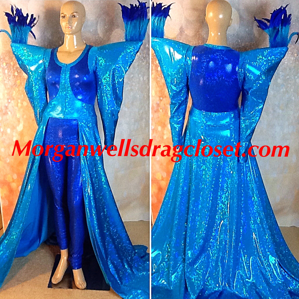 TURQUOISE AND BLUE HOLOGRAM FEATHER TRIM SPANDEX  CATSUIT