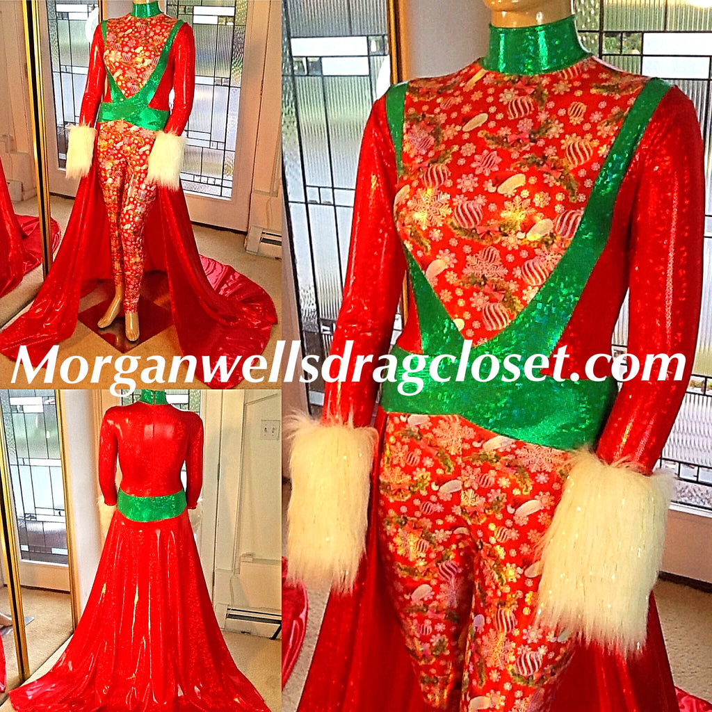 RED AND GREEN CHRISTMAS PRINT HOLOGRAM SPANDEX CATSUIT