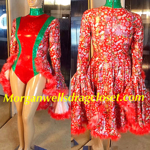 CHRISTMAS FEATHER TRIM DANCE LEOTARD