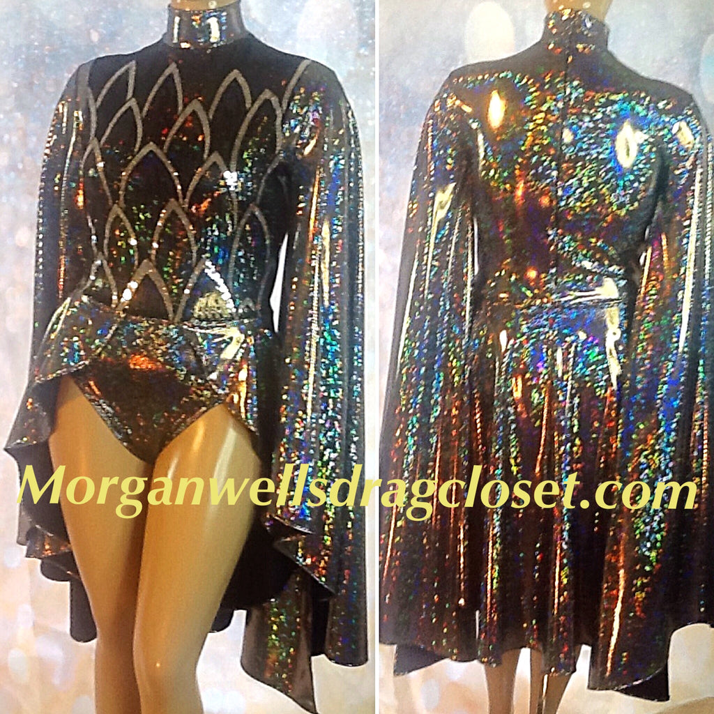 DARK SILVER SEQUIN FRONT HOLOGRAM LEOTARD
