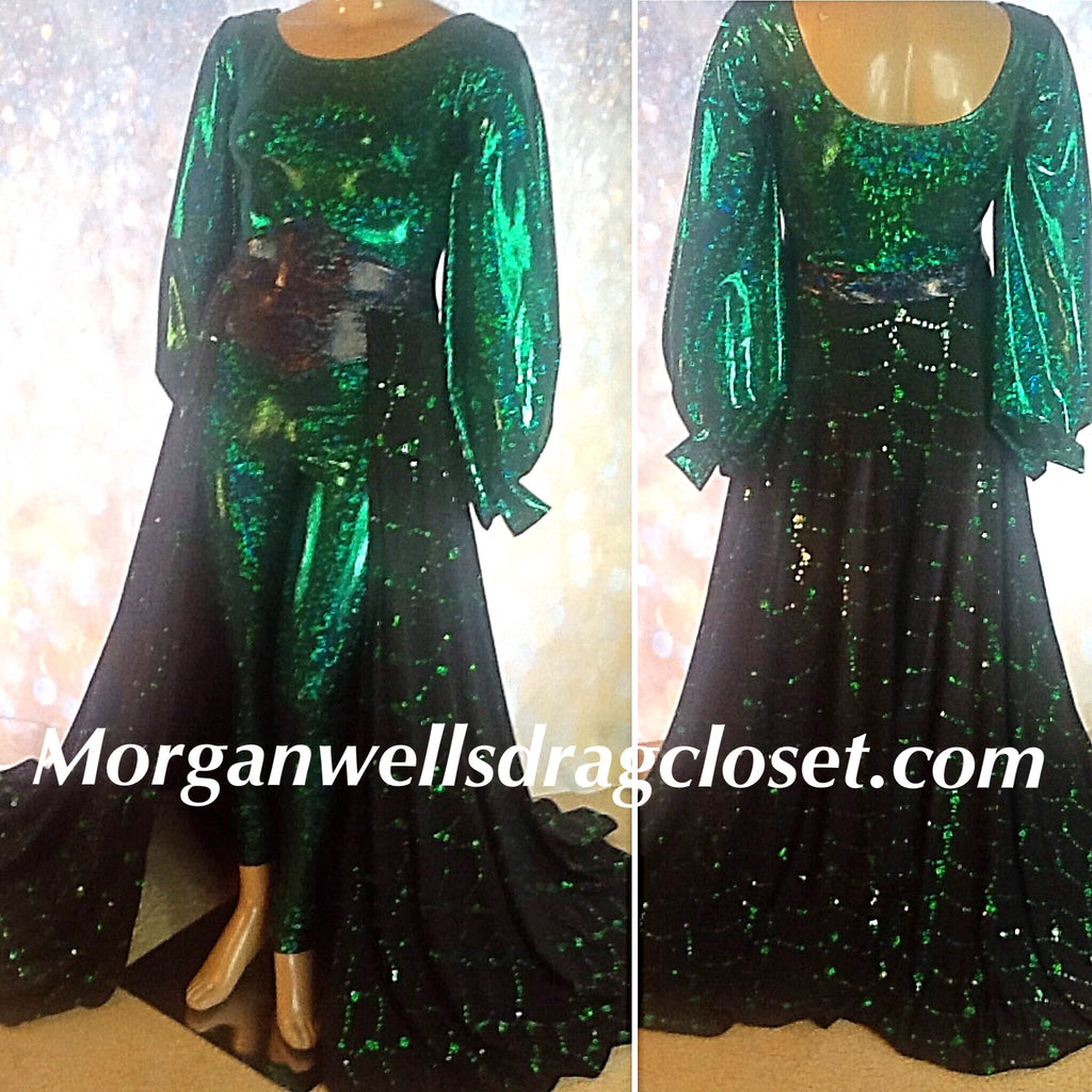 OVERSKIRT SEQUIN AND HOLOGRAM SPANDEX  CATSUIT IN EMERALD GREEN