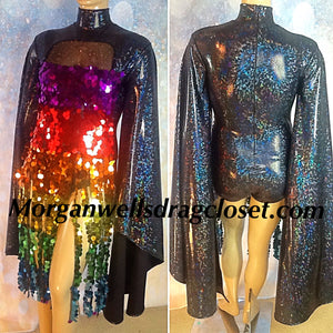 GAY PRIDE MULTI COLOR SEQUIN FRINGE TRIM DANCE LEOTARD