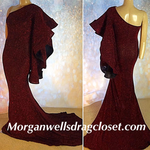 RED AND BLACK ONE SHOULDER GLITTER DRESS