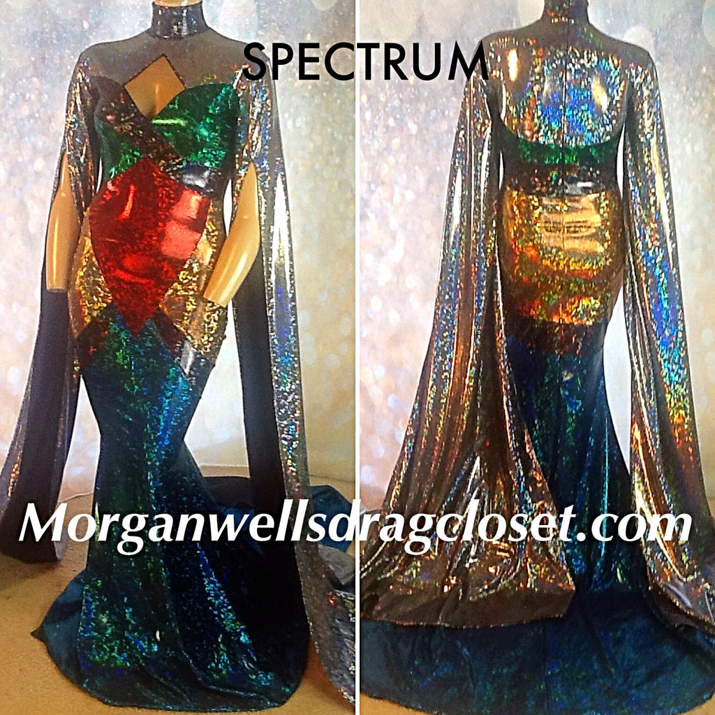 SPECTRUM HOLOGRAM STRETCH DRESS IN JEWEL