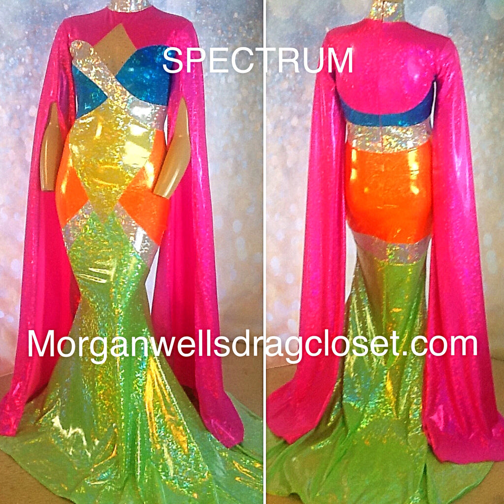 SPECTRUM HOLOGRAM STRETCH DRESS IN CITRUS