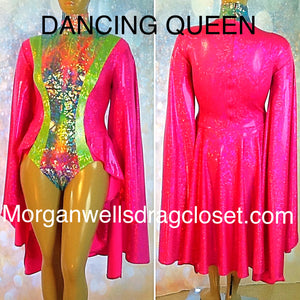 DANCING QUEEN HOLOGRAM LEOTARD IN HOT PINK