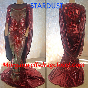 STARDUST HOLOGRAM AND SEQUIN CAPE SLEEVE GOWN IN RUBY