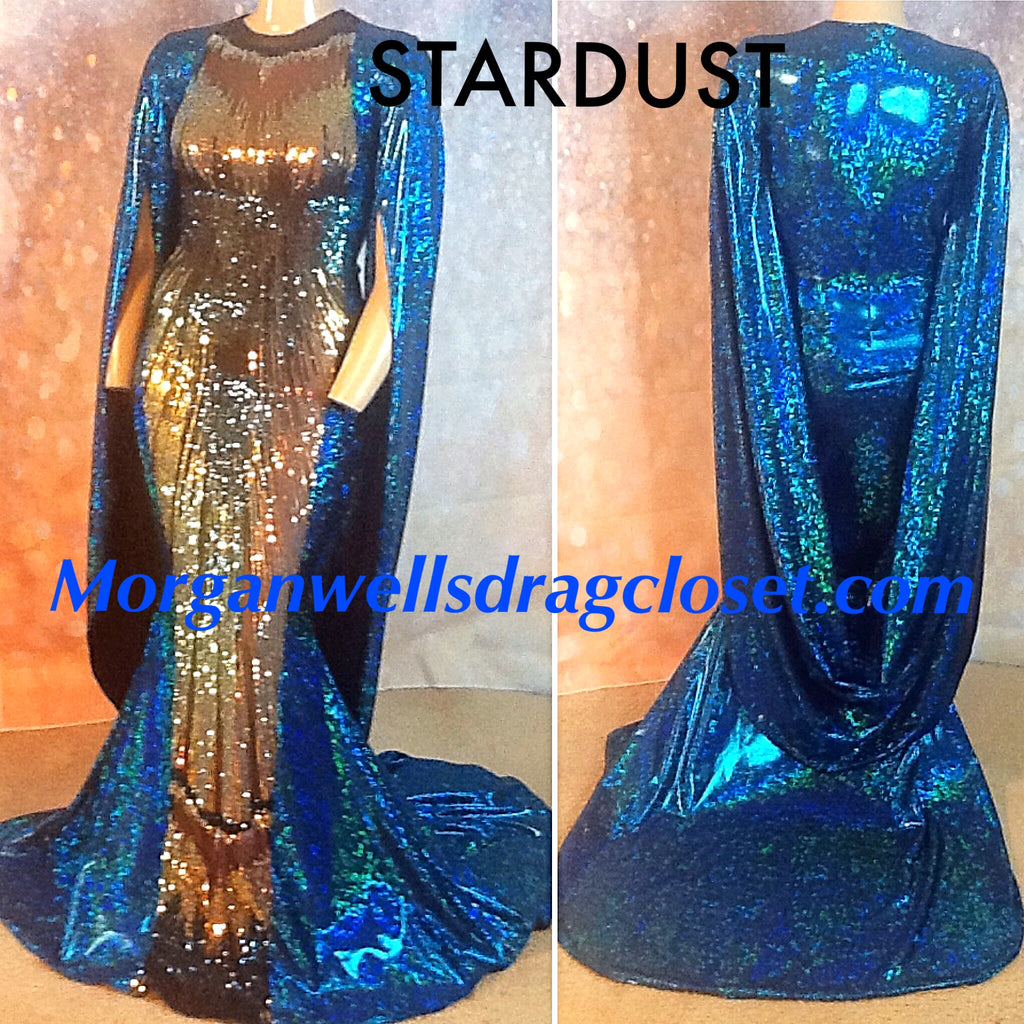 STARDUST HOLOGRAM AND SEQUIN CAPE SLEEVE GOWN IN TEAL