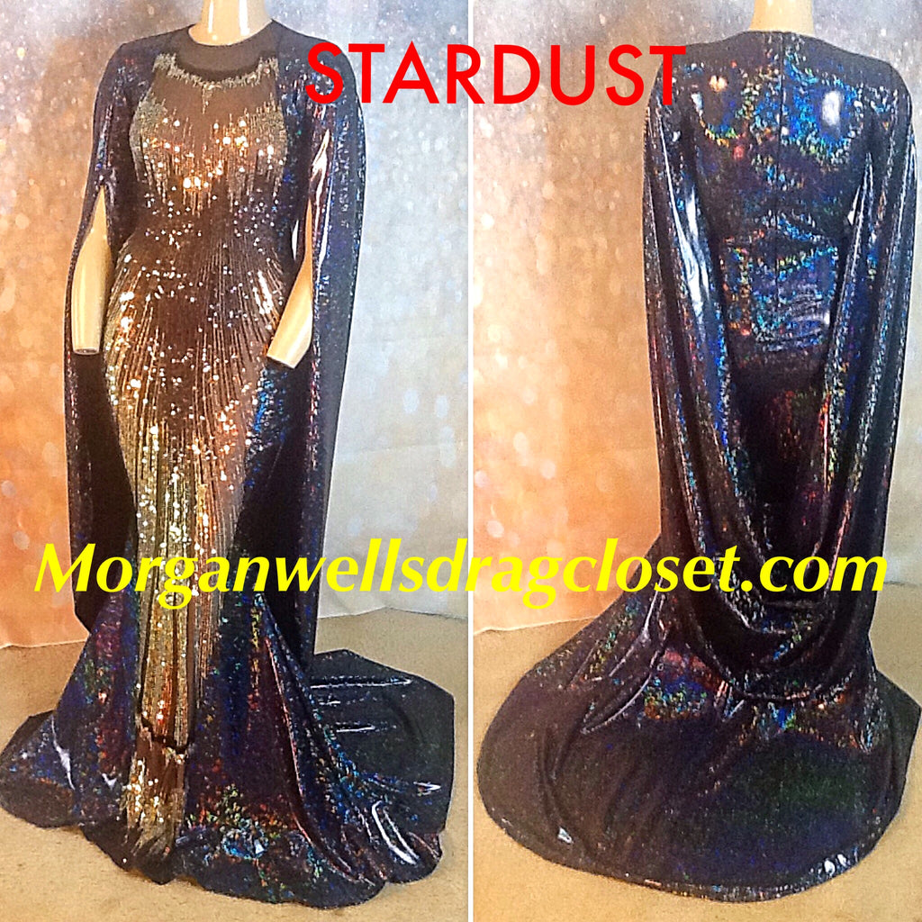 STARDUST HOLOGRAM AND SEQUIN CAPE SLEEVE GOWN IN BLACK