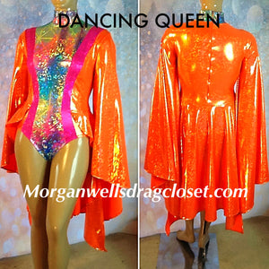 DANCING QUEEN HOLOGRAM LEOTARD IN TANGERINE