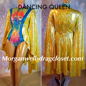 DANCING QUEEN HOLOGRAM LEOTARD IN LEMON