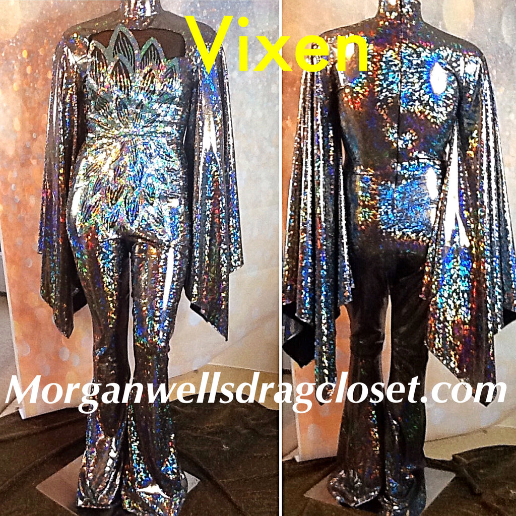 VIXEN HOLOGRAM AND SEQUIN JUMPSUIT IN RICH SILVER!