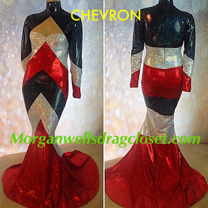 CHEVRON HOLOGRAM DRESS IN RED BLACK AND WHITE