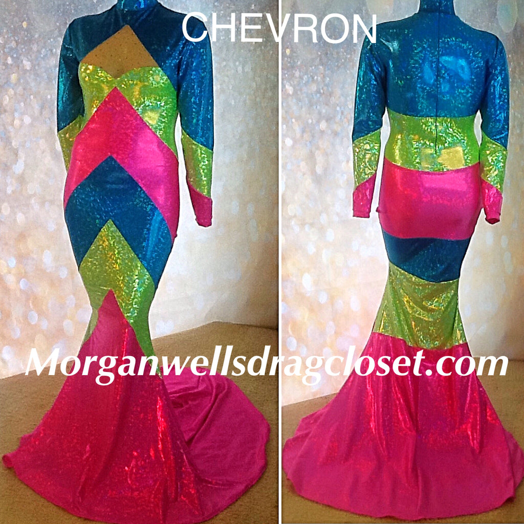 CHEVRON HOLOGRAM DRESS IN TURQUOISE LIME AND HOT PINK