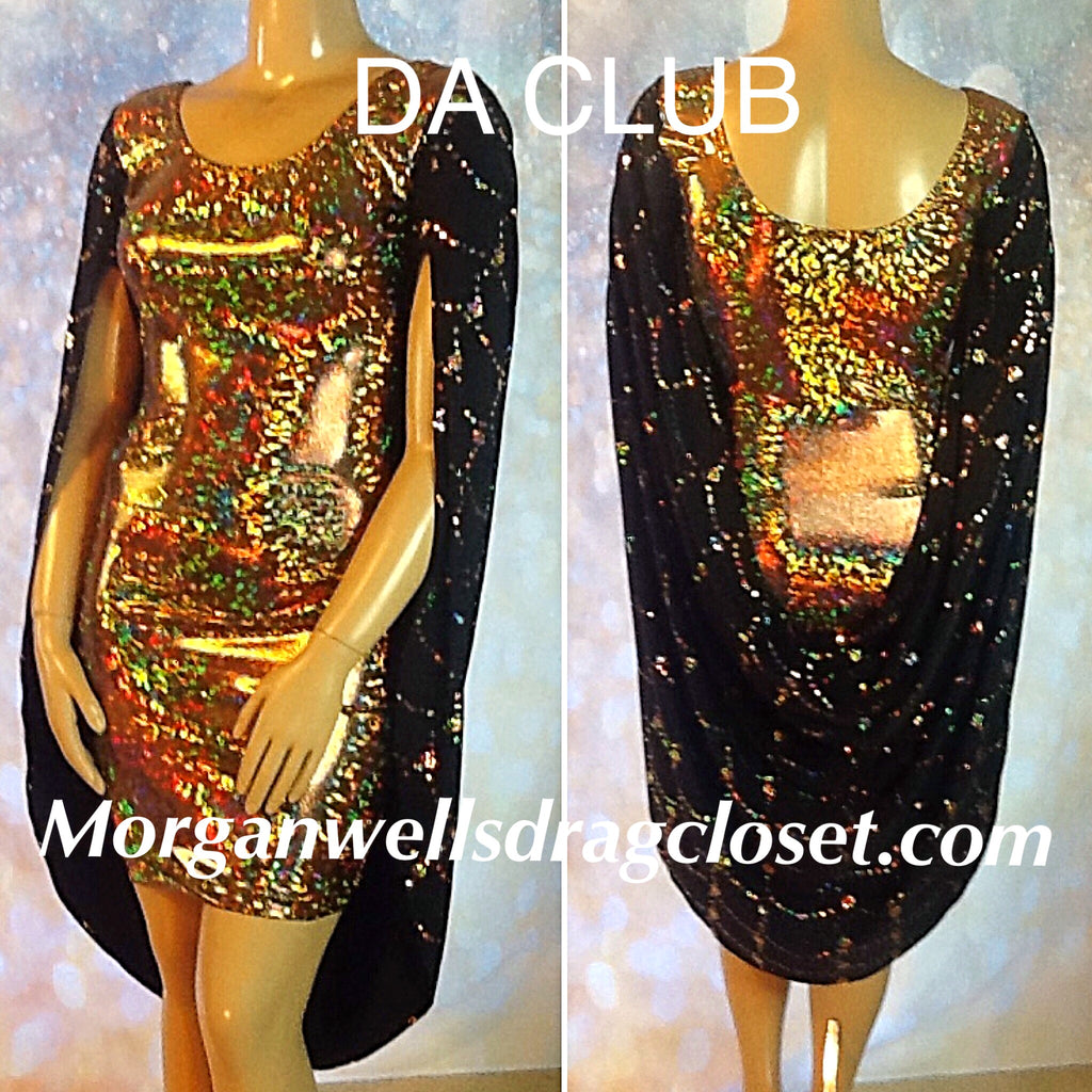 DA CLUB HOLOGRAM AND SEQUIN COCKTAIL DRESS IN GOLD