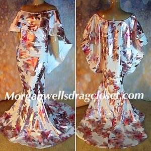 WHITE METALLIC FLORAL PRINT CAPE SHOULDER  STRETCH DRESS