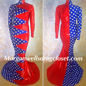 BLUE AND WHITE STARS AND RED HOLOGRAM PATRIOTIC DRESS!